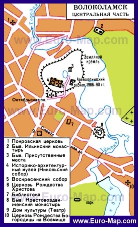 Карта Волоколамска с достопримечательностями
