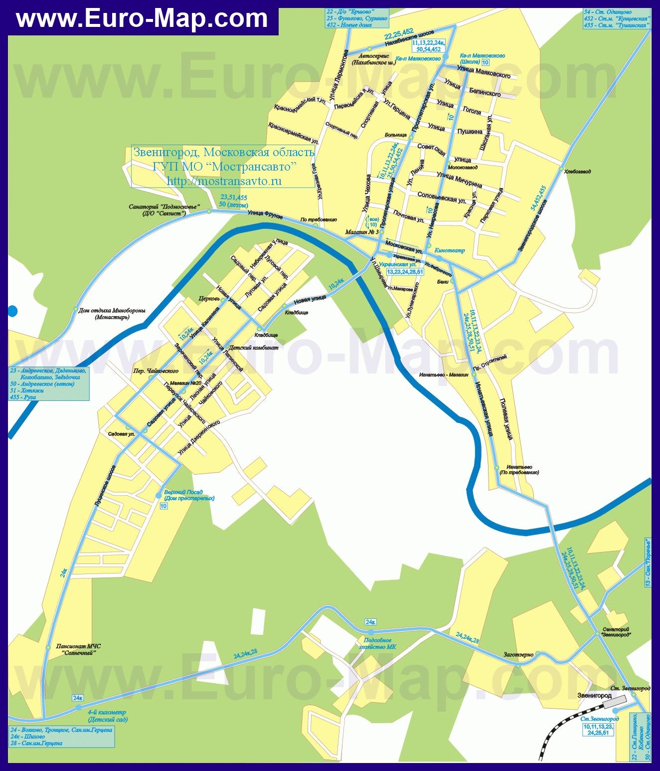 Схема улиц в звенигороде