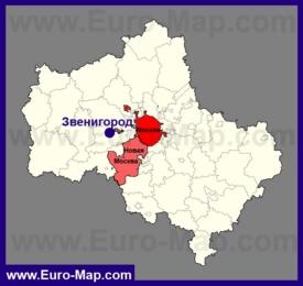 Звенигород на карте Московской области