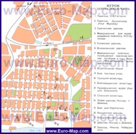 Туристическая карта Мурома с достопримечательностями