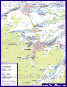 Автомобильная карта дорог Нальчика