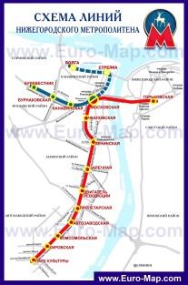 Схема - карта метро Нижнего Новгорода