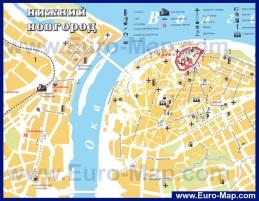 Туристическая карта центра города Нижний Новгород