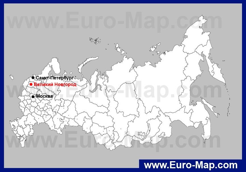 Великий Новгород на карте