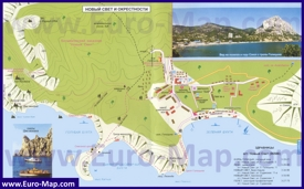 Подробная туристическая карта Нового Света с пляжами и достопримечательностями