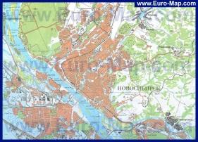 Карта Новосибирска с окрестностями