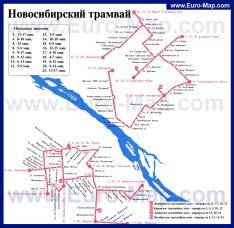 Маршруты транспорта на карте Новосибирска