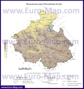Физическая карта Алтая