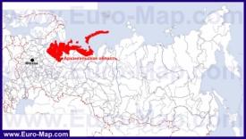 Архангельская область на карте России