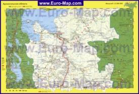 Автомобильная карта дорог Архангельской области
