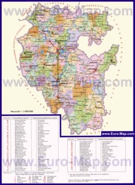 Административная карта районов Башкирии
