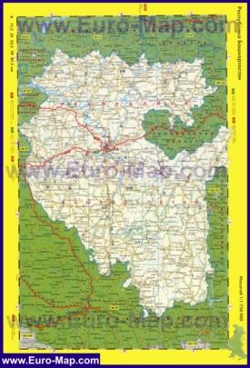 Автомобильная карта дорог Башкирии