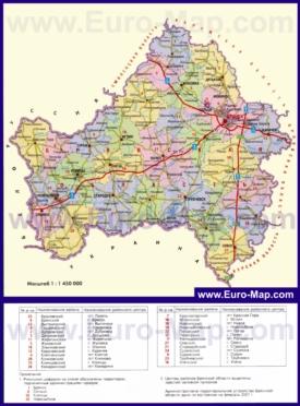 Административная карта районов Брянской области