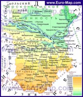 Физическая карта Чечни