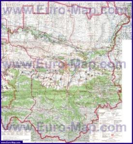 Подробная топографическая карта Чечни