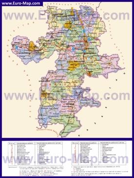 Административная карта районов Челябинской области
