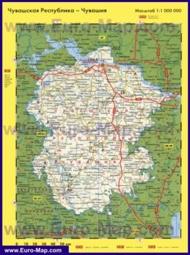 Автомобильная карта дорог Чувашии