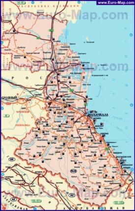 Автомобильная карта дорог Дагестана