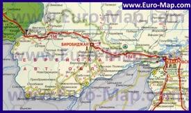 Автомобильная карта дорог Еврейской автономной области