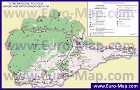 Туристическая карта Еврейской автономной области с достопримечательностями