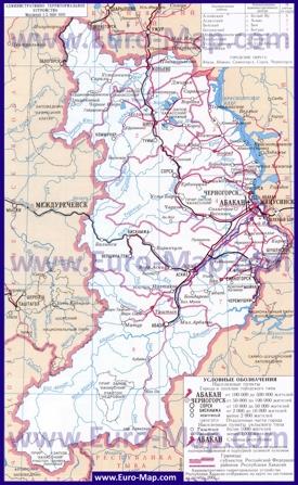 Административная карта районов Хакасии