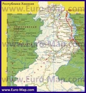 Автомобильная карта дорог Хакасии