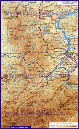 Физическая карта Хакасии