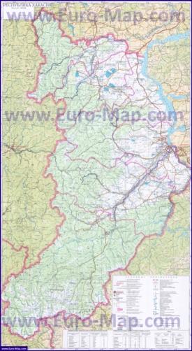 Подробная карта Хакасии с городами и озерами