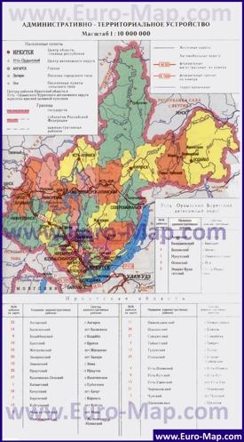 Административная карта районов Иркутской области