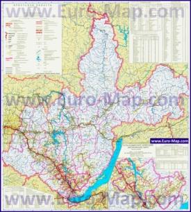 Подробная карта Иркутской области с городами и озерами