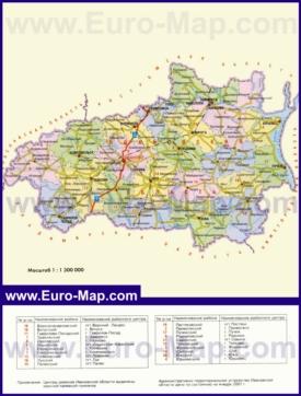 Административная карта районов Ивановской области