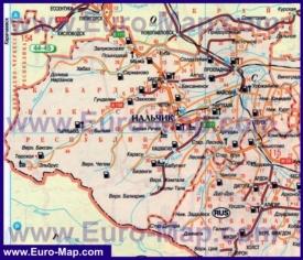 Автомобильная карта дорог Кабардино-Балкарии
