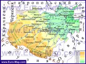 Физическая карта Кабардино-Балкарии