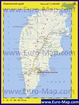 Автомобильная карта дорог Камчатки