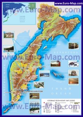 Подробная туристическая карта Камчатки с вулканами
