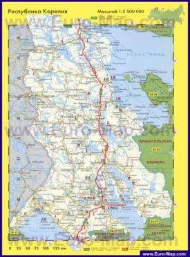 Автомобильная карта дорог Карелии