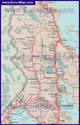 Карта железных дорог Карелии