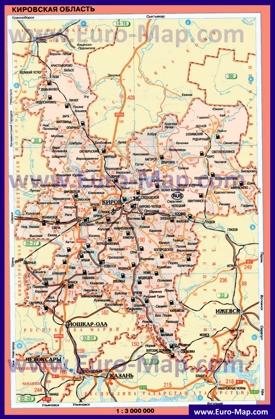 Автомобильная карта дорог Кировской области