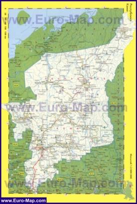 Автомобильная карта дорог Коми