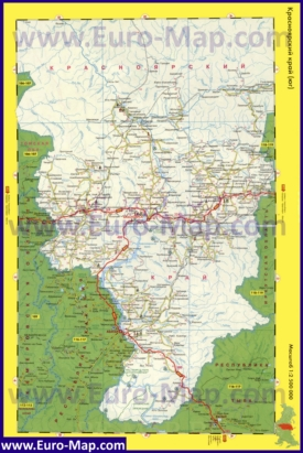 Автомобильная карта дорог Красноярского края