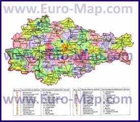 Административная карта районов Курганской области