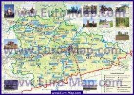 Туристическая карта Курганской области с достопримечательностями и озёрами