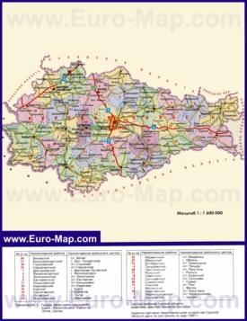 Административная карта районов Курской области