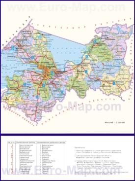 Административная карта районов Ленинградской области