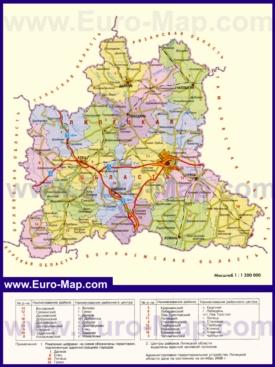 Административная карта районов Липецкой области