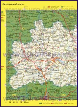 Автомобильная карта дорог Липецкой области