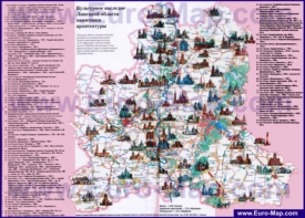 Туристическая карта Липецкой области с достопримечательностями