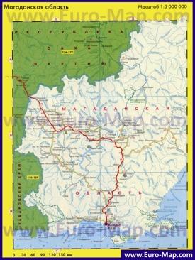 Автомобильная карта дорог Магаданской области
