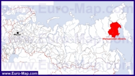 Магаданская область на карте России