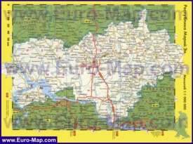 Автомобильная карта дорог Марий Эл